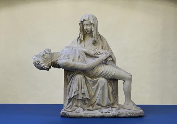 Pietà. Leinav neitsi Maarja surnud pojaga. Algne asukoht: Riia Jaakobi kirik. Umbes 1400. Läti Ajaloomuuseum